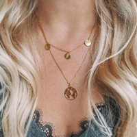 Глобус Земля Карта Мира Ожерелье Женщины Серебро Золотая Цепочка, Модные Ожерелья