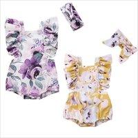 Baby-Spielanzug Stirnband Anzug Mädchen Blumensommer-Jumpsuits Newborn beiläufige Strampler Baby-Schmetterlings-Hülsen-Druck Bodysuit Klettern Kleidung C5958
