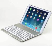 Kablosuz Bluetooth Klavye Kapak Kılıfı ile Arka Işık Alüminyum Alaşım 7 Renkler Arkadan Aydınlatmalı Kılıflar Için iPad Pro 9.7 Yeni 2018 iPad Hava 2 DHL 22 adet