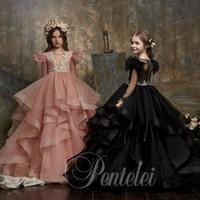 Adoráveis mangas compridas de mangas compridas flor vestidos de menina para o casamento Sheer Bateau Neck Appliced Criança Grawns Growns Tule Ball Vestido Crianças Prom Vestido