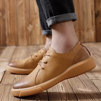 Genuine Leather Mens Casual Shoes Black Brown Low Top Flat S...