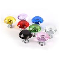 Profesional Colorido 30mm Forma de Diamante Diseño de Cristal de Cristal Perillas de las Puertas Armario Cajón Gabinete Armario Tire de la Manija Perillas lin4875