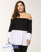 Neck Blouse for Women Sexy Off Shoulder Black and White Color Panelled Shirts Spring Long Sleeve Tops Plus Size Slash
