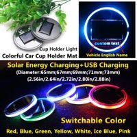 2pcs 태양 LED 자동차 로고 컵 홀더 패드 매트 아우디 BMW 메르세데스 벤츠 폭스 바겐 Toyota Tesla 지프 Chevrolet 포드
