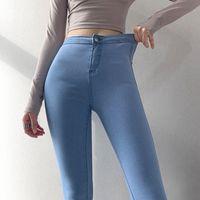 2020 der neuen Frauen sexy bodycon Tunika hohe Taille Normallack Hüfte raise Jeans lange Hosen Hose plus Größe XSSMLXL