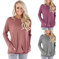 Frauen Beiläufige Loose Fit Tops Langarm mit Tasche T-Shirt Rundhals Lose Blusen Fashion Tops