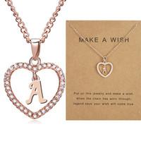 26 Naszyjniki literowe z tworzeniem karty życzeń Kryształowe Rhinestone Kształt Serca Alfabet Łańcuch Wisiorek Dla Kobiet Moda Biżuteria Prezent