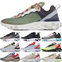 2020 87 55 React Element Chaussures de course Hommes Femmes Volt Triple Noir Blanc Royal Game Solar Sail baskets Sport Baskets mode Red 36-45