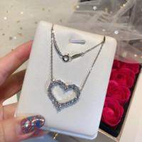 luxury Heart Necklaces S925 Sterling Silver Pendant Necklace...