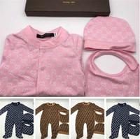 Мультфильм ползунки Детская одежда устанавливает мальчики девочки полный рукав мягкие решетки комбинезоны комбинезон шляпа + нагрудник 3 шт./компл. костюм 3-18 месяцев