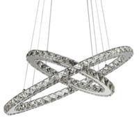 Современные кристаллы Chrome Люстра бриллиантовое кольцо светодиодные лампы из нержавеющей стали Подвесной Осв.арматура Регулируемый Cristal LED Блеск