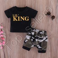 Ins Bebek Giysileri Mektuplar Kral Siyah T-Shirt Kamuflaj Şort Erkek Tops Tee Elastik Bel Kısa Pantolon 2 adet Set Çocuk Giyim Seti CZ312