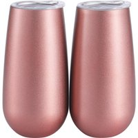 Double- insulated Stemless Champagne Flutes Wine Tumbler, 6 O...