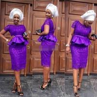 2020 Sudáfrica Vestidos de cóctel Vaina de manga corta Encaje completo Púrpura Joya Cuello Peplum Vestido de fiesta Vestidos de noche por encargo Z142