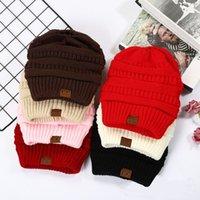 США осенью и зимой продажи CC Ms Этикетировочное Pure Color Зимние шапки Шерсть отбортовки вязаной шапочке