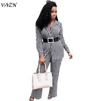 VAZN 2018 الجديدة تصل زر مثير الخامس الرقبة حللا النساء مخطط كامل كم 2-قطعة حللا السيدات الزنانير MZ8151