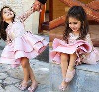 핑크 짧은 새틴 레이스 선발 대회 드레스 긴 소매 꽃 소녀 드레스를 들어 결혼식 사랑스러운 등이없는 어린 소녀 파티 드레스와 활