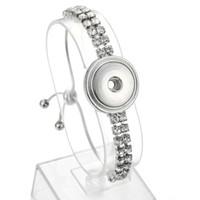 도매 판매 Noosa 청크 쥬얼리 교환 가능한 스냅 팔찌 크리스탈 실버 체인 18mm 스냅 버튼 팔찌 Bangles