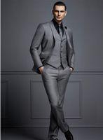 Красивый темно-серый мужской костюм Новый модный жених костюм свадебные костюмы для лучших мужчин Slim Fit Groom Tuxedos для человека (куртка + жилет + брюки)
