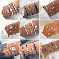30 Style Boho Bangle Heart Shell Stella Moon Bow Mappa Crystal Bead Bracciale Donna Fascino Party Wedding Jewelry Accessori bracciale