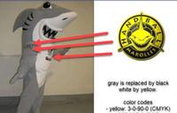 사용자 지정 상어 마스코트 의상 캐릭터 의상 회색은 검은 색 흰색, 노란색은 흰색