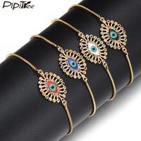 Charme Armbänder Pipitree Mode Evil Eye Armband Für Frauen Dame Kupfer Kubikzirconia Email Slider Hip Hop Schmuck Geschenk