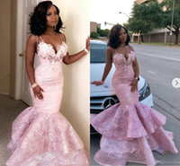 2019 Pink Mermaid Prom Dresses New Spaghetti Lace 3D Floral Appliqued Beaded Evening Gowns Tiered Skirts Black Girl robes de soirée