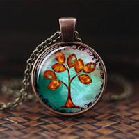 Neueste Baum Des Lebens Cabochon Glaskette Für Frauen Aussage Halskette Mode Halskette anhänger Persönlichkeit Zubehör