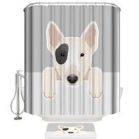 Animal Pet Dog Shower Curtain Set and Anti- slip Floor Mat Ou...