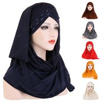 Мусульманские Женщины Простой Тюрбан Бусины Амира Хиджаб Шарф Обертывание Головы Мгновенный Платок Готов Носить Головной Платок Исламская Шапка Шляпа Ближний Восток