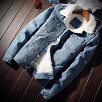 NaranjaSabor Autumn Winter Men's Denim Coats Men Fleece Jacket Warm Thick Jeans Male Slim Casual Windbreakers 5XL N415