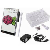 "Freeshipping Raspberry Pi 3 Starter Kit 5 in 1 Display Touch Screen da 3,5 ""/ Custodia / Dissipatori / Micro USB con interruttore On / Off / US / EU / UK Power"
