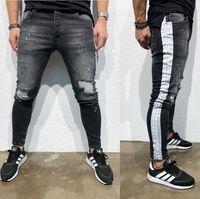 Mens Ripped Side Stripe Röhrenjeans Modedesigner Hi-Street Distressed Denim Jogger Knielöcher Washed Destroyed Slim Fit Pants NK50