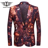 Plyesxale marca degli uomini della giacca sportiva Slim Fit 3D Tiger Lion Mens stampato Blazer nuovo disegni uomo Blazers Costume di scena Homme Q483