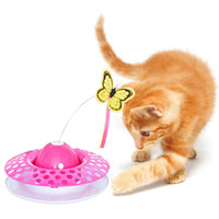 Pet Cat Flying Butterfly Turntable Ball Juguete de plumas interactivo Juguete automático 3 en 1 Divertido eléctrico Pet Cat Playing Products