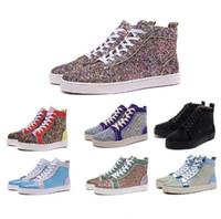 d5565dc52 2019 Nuevo diseñador de lujo zapatos rojos inferiores para hombres mujeres  High Top con lentejuelas glitter zapatillas de deporte de moda para mujer  para ...