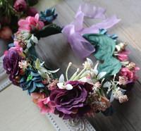 Simulación niñas guirnaldas de las flores guirnalda de la flor de la corona nupcial de la boda de la princesa Hairbands Mujeres Mar Fotografía Accesorios para el cabello S235