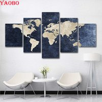 full Square round Diy Diamond Painting Abstract World Map Pi...