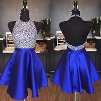 Kraliyet Mavi Saten Bir Çizgi Kısa Mezuniyet Elbiseleri Ucuz Boncuklu Taşlar Üst Backless Diz Boyu Örgün Parti Balo Kokteyl Elbiseler