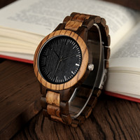 Wholesale- BOBO BIRD D30 Round Vintage Zebra Wood Case Men Watch With Ebony Bamboo Wood Face With Zebra Bamboo Wood Strap Japanese movement