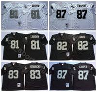 NCAA Football 83 Ted Hendricks 81 Tim Kahverengi Formalar 82 AI Davis 87 Dave Casper 60 OTIS Sistrunk Marcus Allen Erkekler Vintage Siyah Beyaz