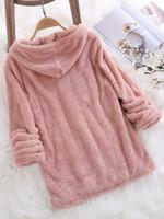 따뜻한 귀여운 느슨한 후드 스웨터 여성 까마귀 긴 소매 솔리드 푹신한 양털 가짜 모피 겉옷 가을 봄 여성 코트