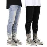 Splashing ink Designer Men Jeans Spring Autumn Zipper Slim F...