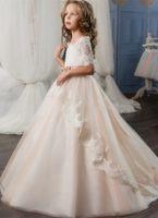 Prima Comunione Party Princess vestiti da spettacolo elegante Flower Girl Dress Champagne mezza manica pizzo applique della ragazza