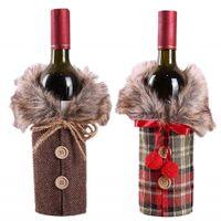 Noël rouge Sacs bouteille de vin couverture sac Linge Champagne Bouteille Housses de Noël Vêtements pour bouteilles Décor de table Accueil