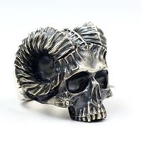 Anello gotico con teschio punk di pecora Capricorno in acciaio inossidabile 316L per gioielli da uomo di moda, formato regalo 7-14