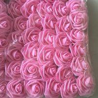 8 CM Artificial Espuma de Peixe Rosa Flores com Haste Bouquet De Noiva Decoração de Casamento Em Casa DIY Suprimentos 50 pçs / lote