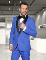 الرجال يناسب الحلل النمط الأزرق الأزرق الرجال العريس البدلات الرسمية مع أسود شال التلبيب الأعمال يرتدي سترة رجل الدعاوى الزفاف (سترة + سروال + القوس)