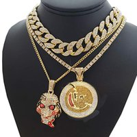 "Hip Hop Horror Mask Round Pendant 18 ""Full Iced Cuban Choker Chain Necklace Jewelry Gift Y19051302"