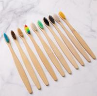 Cepillo de dientes de bambú blando en adultos Rainbow medio ambiente de bambú cepillo de dientes mango de madera respetuoso del medio ambiente del cepillo de dientes 11 colores KKA7762